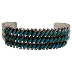 Zuni Needle Point Turquoise sterling Silver Triple Row Cuff Bracelet