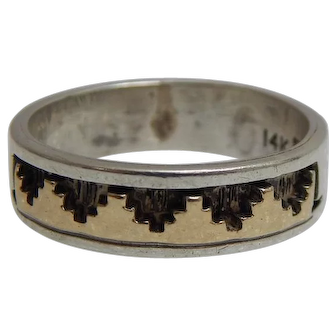 Navajo Sterling & 14k Yellow Gold Band Size 10 By P. SKEET