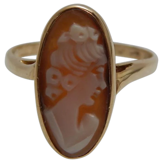 10k Yellow Gold Cameo Filigree Ring Size 6.5