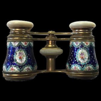 Antique French Audemair Paris Enameled Adjustable Opera Glasses