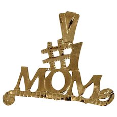 14k #1 Mom Pendant / Charm Yellow Gold