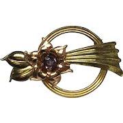1950's Harry Iskin Flower Gold Filled & Purple Rhinestone Pin/Brooch