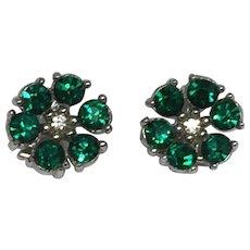 Vintage Signed BOGOFF Green Rhinestone Clip Earrings