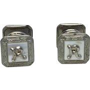 "Vintage Sterling ""R"" Cuff Links"