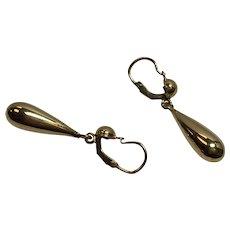 Vintage 22k Yellow Gold Tear Drop Dangle Earrings