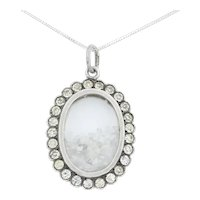 """Antique Silver Paste Shaker Locket with Rough Diamonds, 16"""" Chain"""
