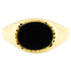 9ct Gold Vintage Onyx Signet Ring c.1973