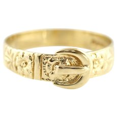 Pretty 9ct Vintage Gold Buckle Ring -c.1950