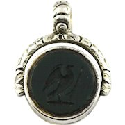 Antique Georgian Silver Swivel Fob Pendant with Beautiful Intaglio Seal- c.1820