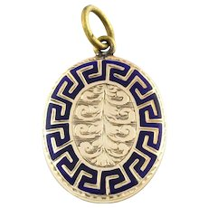 Antique 9ct Gold Victorian Mourning Pendant with Blue Enamel c.1850