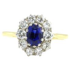 Stunning Mid-Century Vintage Sapphire Diamond Cluster Ring - c.1950