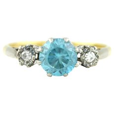 Vintage Art Deco 18ct Gold Blue Zircon and Diamond Trilogy Ring -c.1920