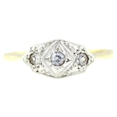 Beautiful 18ct Gold and Platinum Art Deco Diamond Ring- c.1920