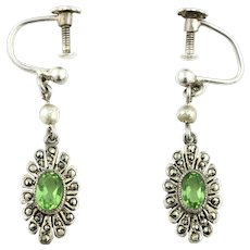 Art Deco Silver Peridot Drop Earrings c.1920