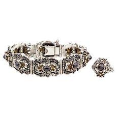 Austro-Hungarian Silver Garnet Bracelet & Ring Set c.1918