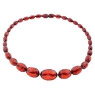 Art Deco Cherry Amber Bakelite Necklace c.1920