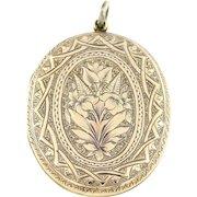 Spectacular Large Antique 9ct Gold Locket & Chain c.1905