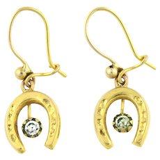 Dainty 9ct Gold Edwardian Horseshoe Earrings -c.1900
