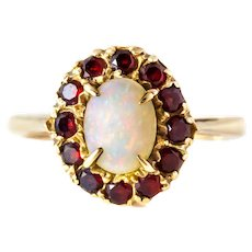Victorian Garnet Opal Cluster Ring in 9ct Gold