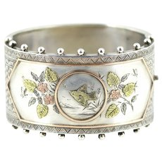 Spectacular Victorian Aesthetic Silver Bangle ,Hallmarked 1882