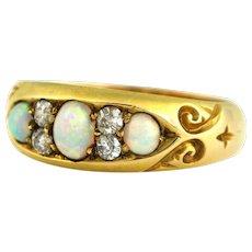 Gorgeous Antique 18ct Gold Opal Diamond Ring c.1898