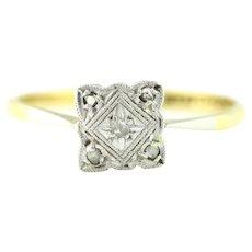18ct Gold Art Deco Square Diamond Cluster Ring c.1920