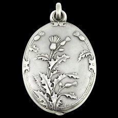 Art Nouveau Silver Sliding Mirror Pendant - c.1890