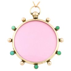 Antique 9ct Rose Gold Locket with Turquoise & Pearls with Chain c.1905