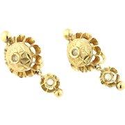 18ct Gold Iberian Rose Cut Diamond Earrings c.1800