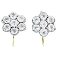 Darling 18ct Gold and Silver Georgian Paste Cluster Earrings c.1800