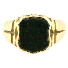 Antique 9ct Gold Bloodstone Signet Ring c.1908