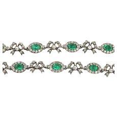 Antique Paste Riviere Necklace (Emerald Green) c.1840