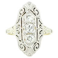 14ct Gold Art Deco Diamond Filigree Ring (0.33ct) c.1930