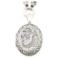Antique Silver Locket & Chain c.1879