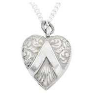 Antique Silver Heart Pendant with chain c.1860