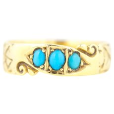 Victorian 18ct Gold Turquoise Ring c.1900