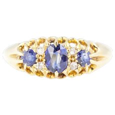 18ct Gold Sapphire Diamond Boat Ring c.1909