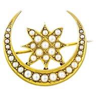 15ct Gold Antique Crescent Moon Pearl Brooch c.1900