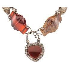 Victorian Silver Scottish Agate Bracelet with Heart Padlock