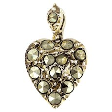Rare Antique Heart Charm Pendant with Giant Marcasites c.1850