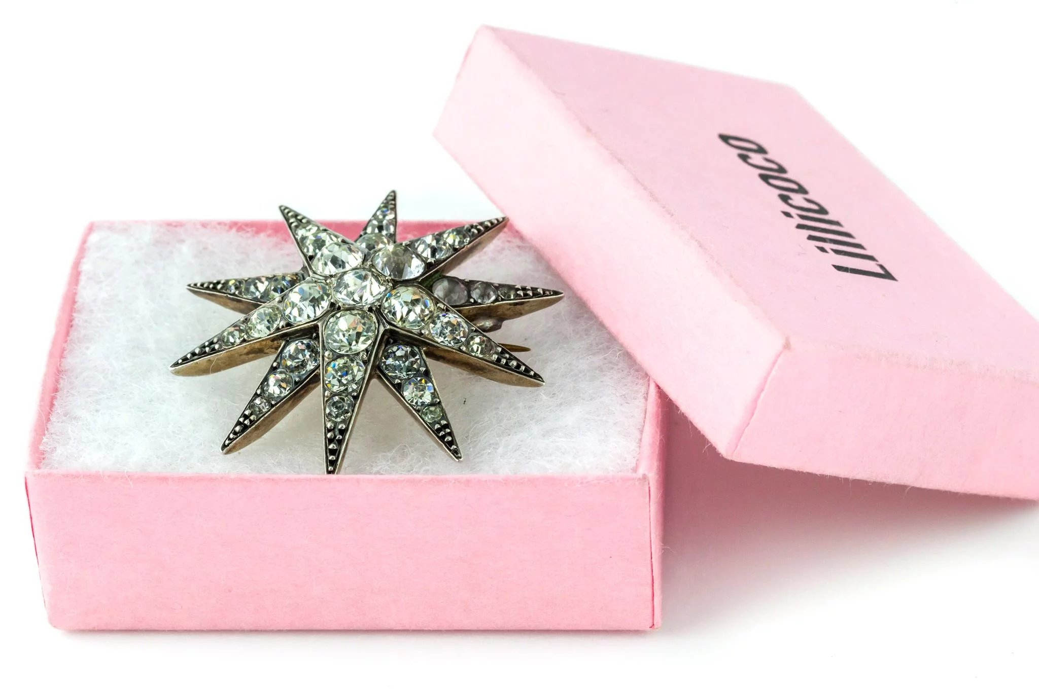 Victorian Silver Paste Star Brooch with Gold Back c.1850 : Lillicoco ...