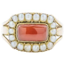 18ct Gold Georgian Cluster Ring with Carnelian & Pearls c.1820