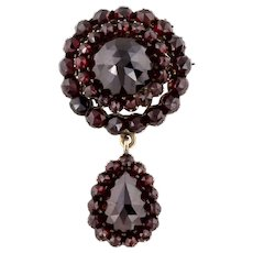 """RESERVED for """"D""""! - Antique Garnet Pendant with Beautiful Pear-Shaped Drop c.1850"""