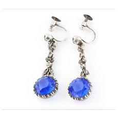 Antique Silver Blue Paste Drop Earrings c.1901