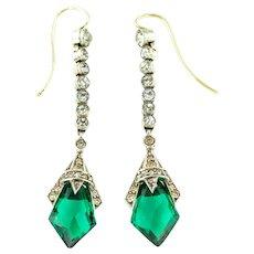 Emerald Paste Art Deco Drop Earrings - c.1930