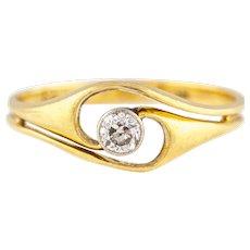 Art Nouveau 18ct Gold Diamond Engagement Ring c.1900