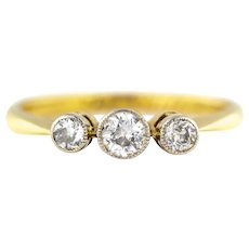18ct Gold Art Deco Diamond Trilogy Ring (0.33ct) c.1920