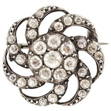 Antique French Paste Silver Brooch c.1840