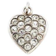Antique Victorian Silver Paste Heart Charm Pendant -c.1900