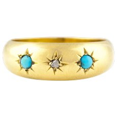 """18ct Gold Victorian Turquoise and Diamond """"Gypsy""""Ring  c.1899"""